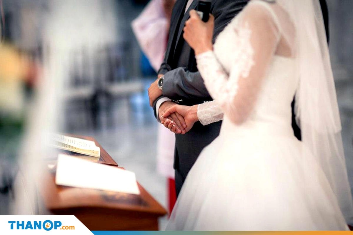 Marriage Certificate Article Wedding Ceremony in Church Holding Hands