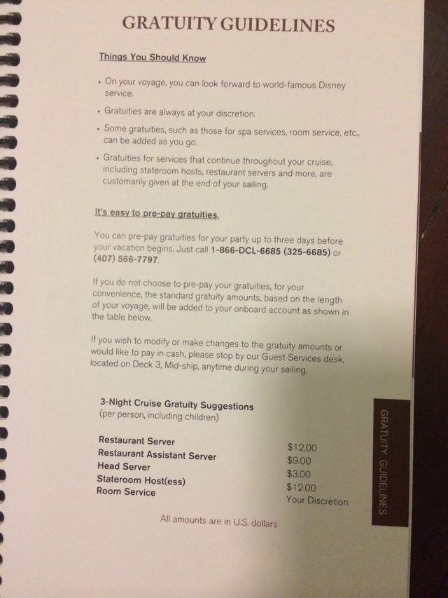 Disney Cruise Document Gratuity Guideline