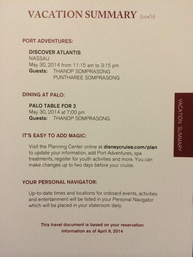 Disney Cruise Document-Vacation Summary