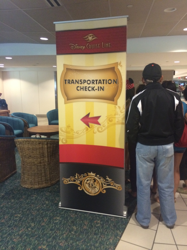 Disney Cruise Line Transportation Checkin Sign