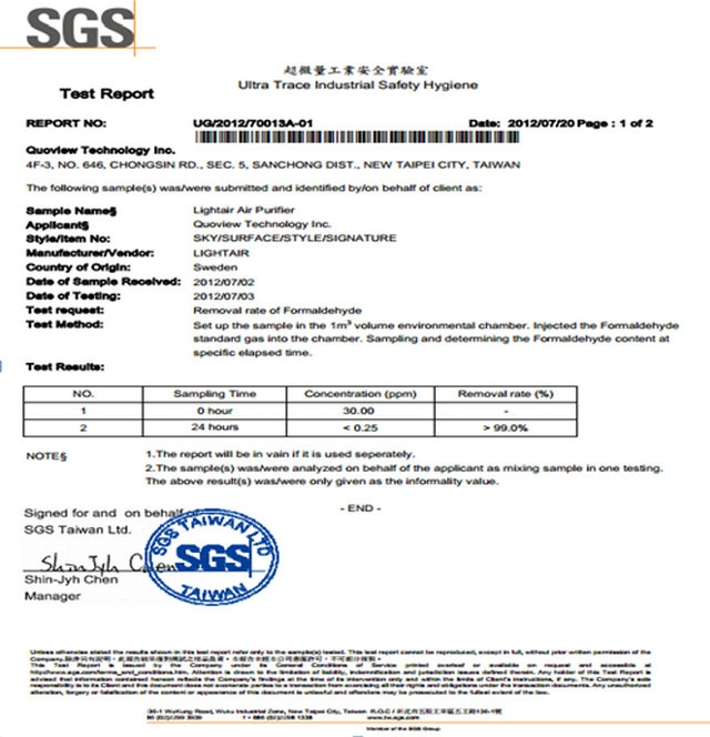 Light Air IonFlow 50 Formaldehyde Removal Rate Certificate