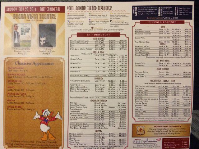 Disney Cruise Dream Day1 Schedule 2