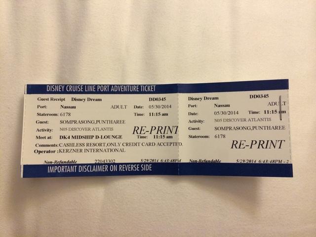 Disney Cruise Dream Port Adventure Ticket