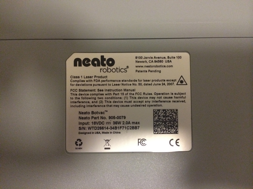 Neato Botvac 70e Underside Label