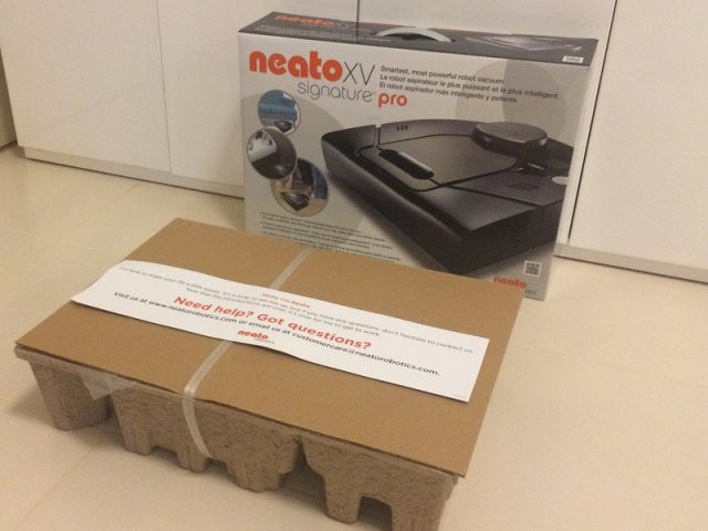 Neato XV Signature Pro Box Unpacked Inside Covered