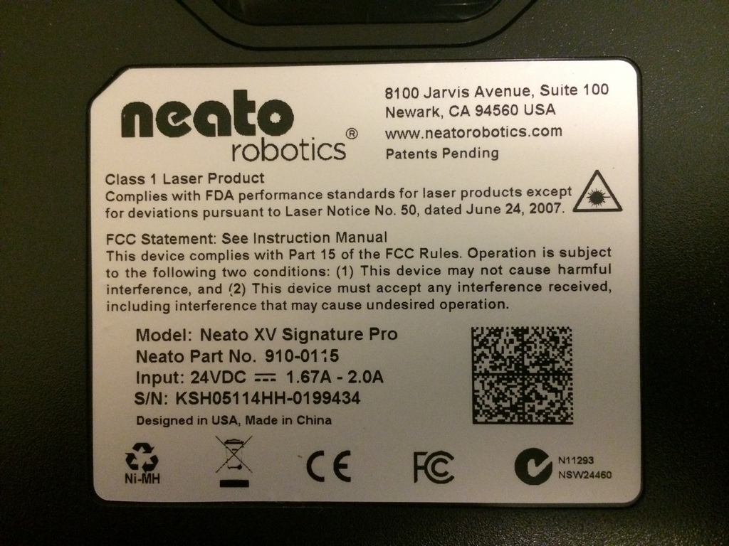 Neato XV Signature Pro Underside Label