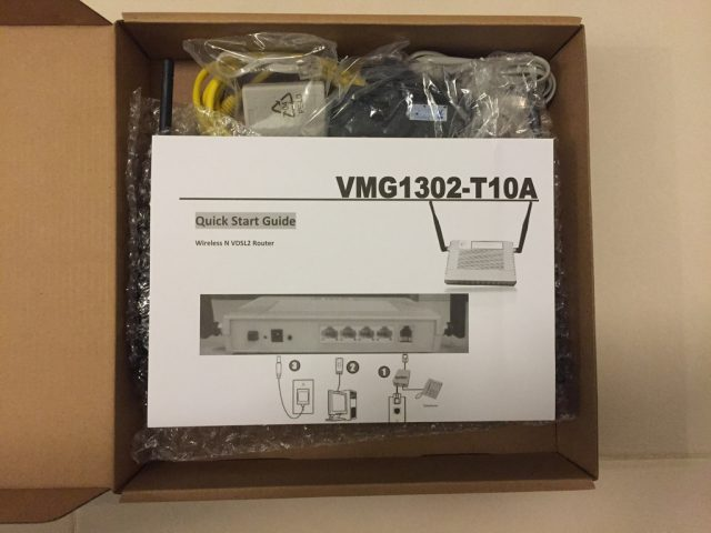 ZyXEL VMG1302 T10A Box Unpacked