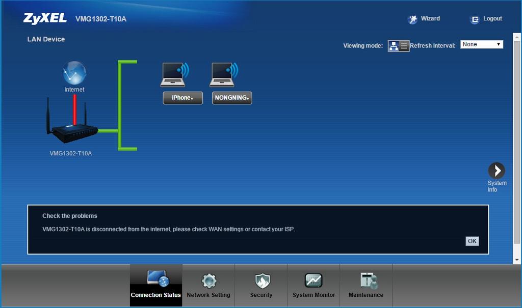zyxel-vmg1302-t10a-screen-connection-status-offline
