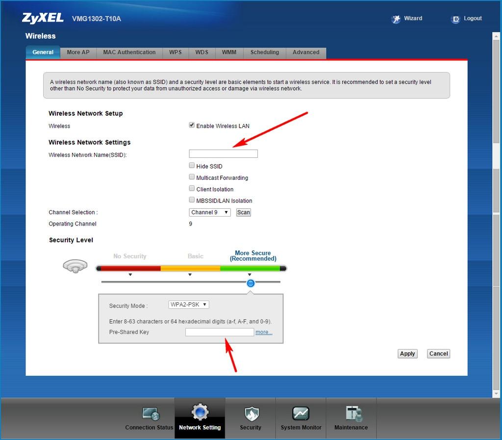 ZyXEL VMG1302 T10A Screen Network Wiress Setting