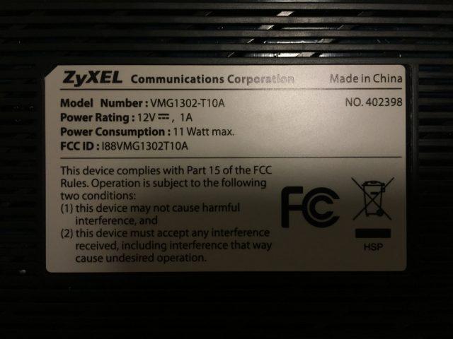 ZyXEL VMG1302 T10A Underside Label