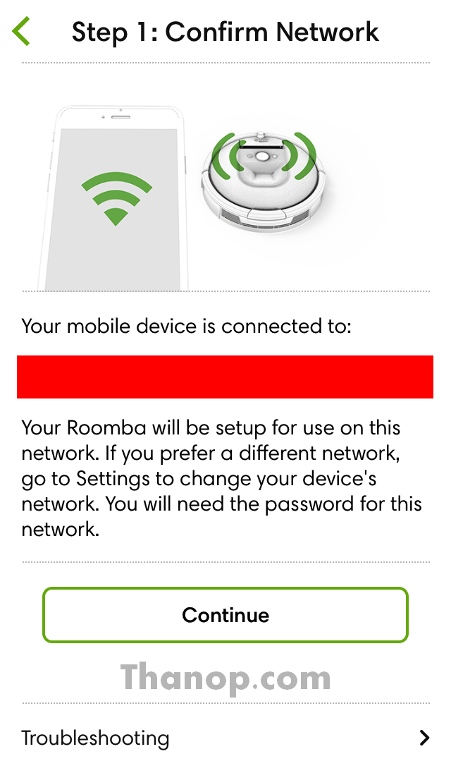 iRobot Home App Setup 1 Confirm Network