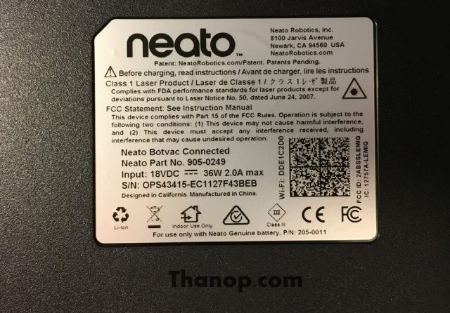Neato Botvac Connected Underside Label