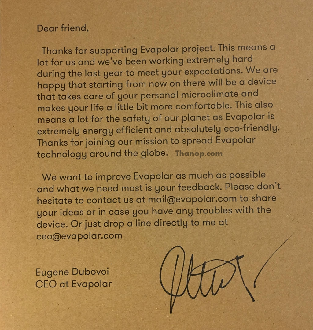 Evapolar Box Message from CEO