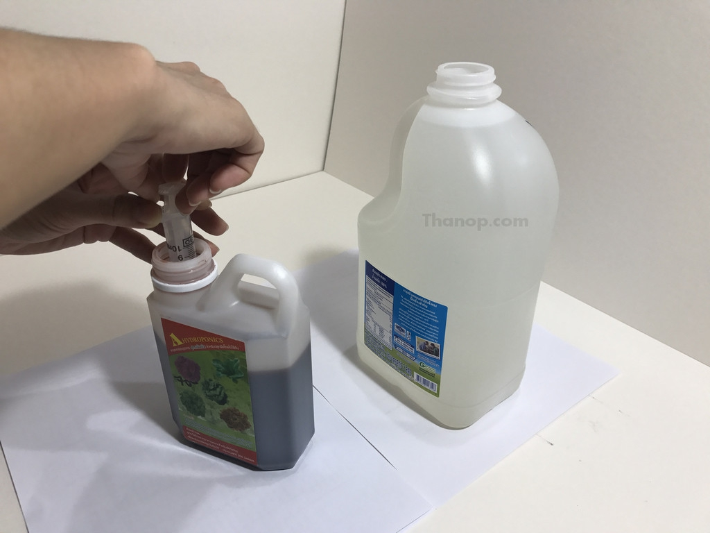 Hydroponic Vegetable in Bottle A and B Nutrients Mixing 1