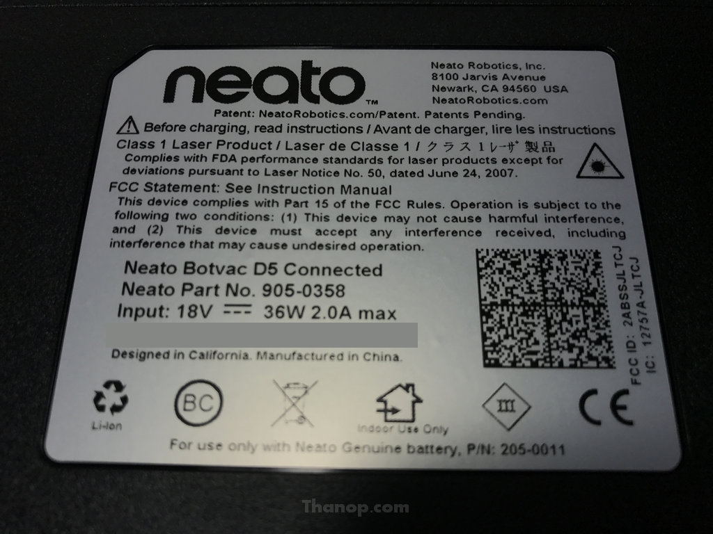 Neato Botvac D5 Connected Underside Label