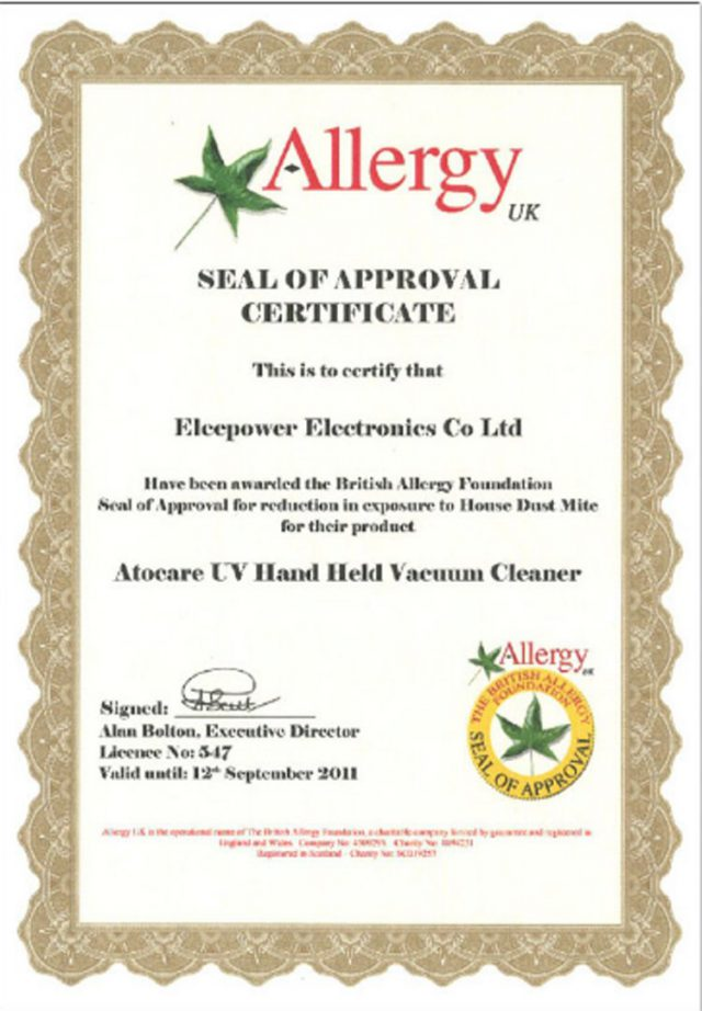 ATOCARE Certificate Allergy UK