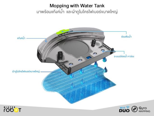 Mister Robot Duo Wi-Fi Feature Water Tank with Mopping Function