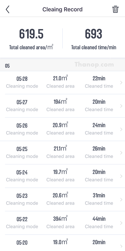 AUTOBOT Lazer App Interface Cleaning Record List