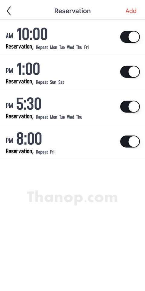 AUTOBOT Lazer App Interface Reservation List