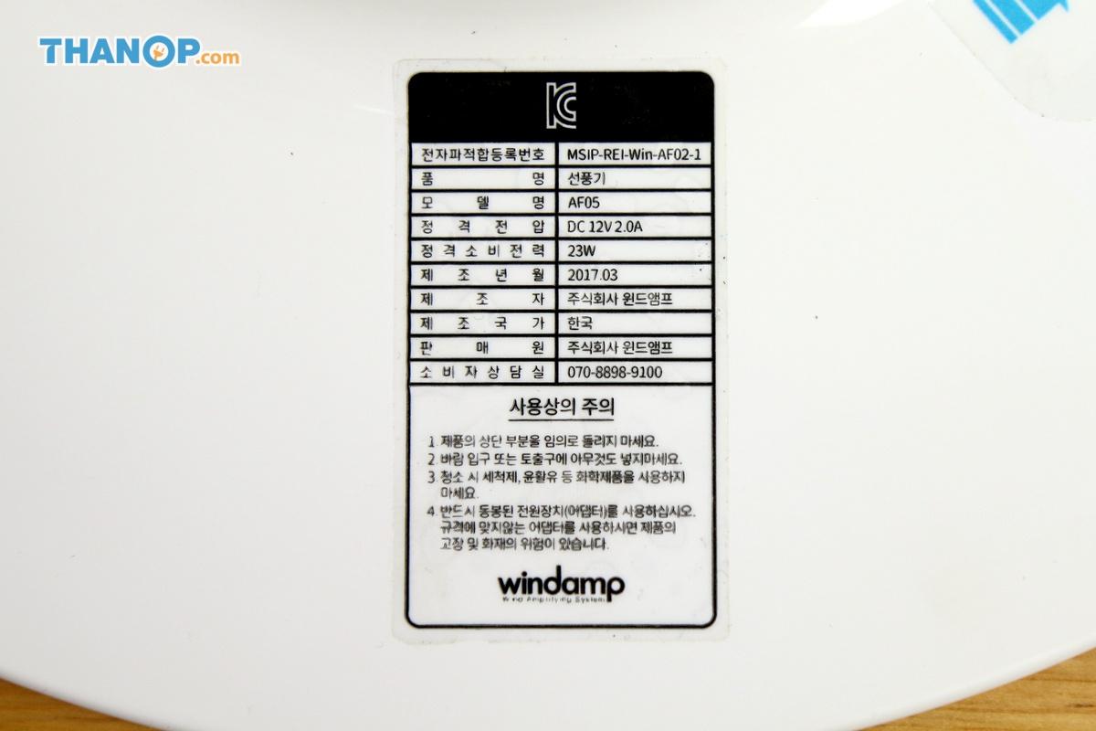 Windamp Bladeless Fan Foot Label