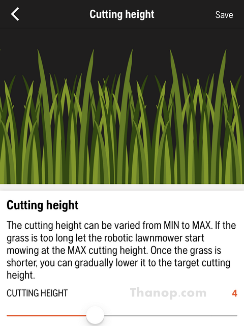 Robot Lawn Mower App Interface Setting Cutting Height