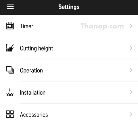 Robot Lawn Mower App Interface Setting