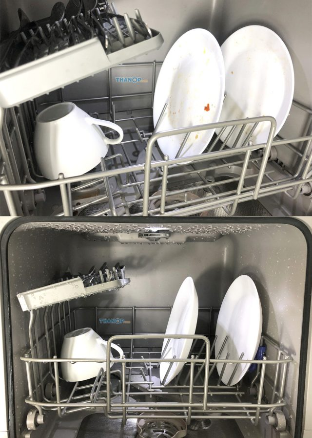 Mister Robot Home Dishwasher Before and After Washing Inside Machine