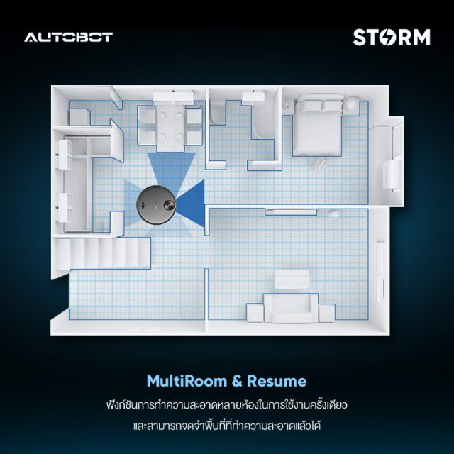 AUTOBOT Storm Feature Multi-Room Cleaning and Resume
