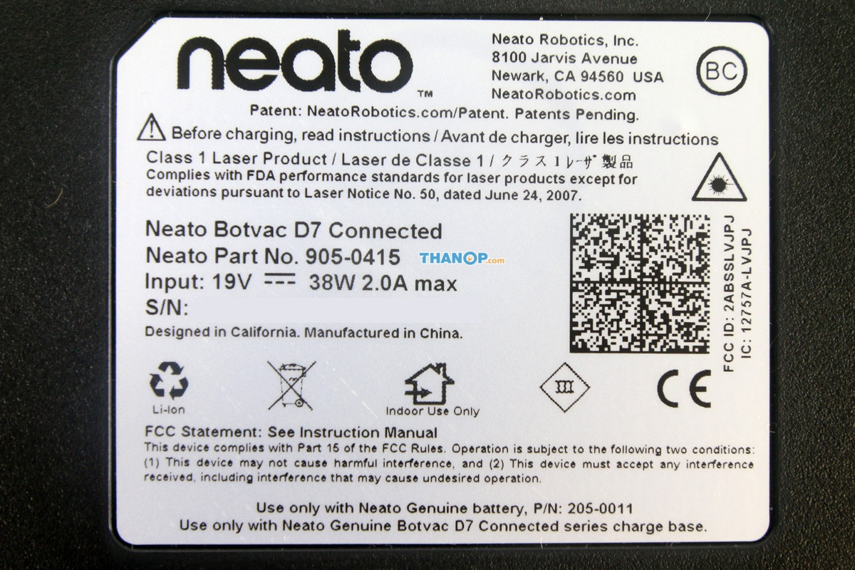 Neato Botvac D7 Connected Underside Label