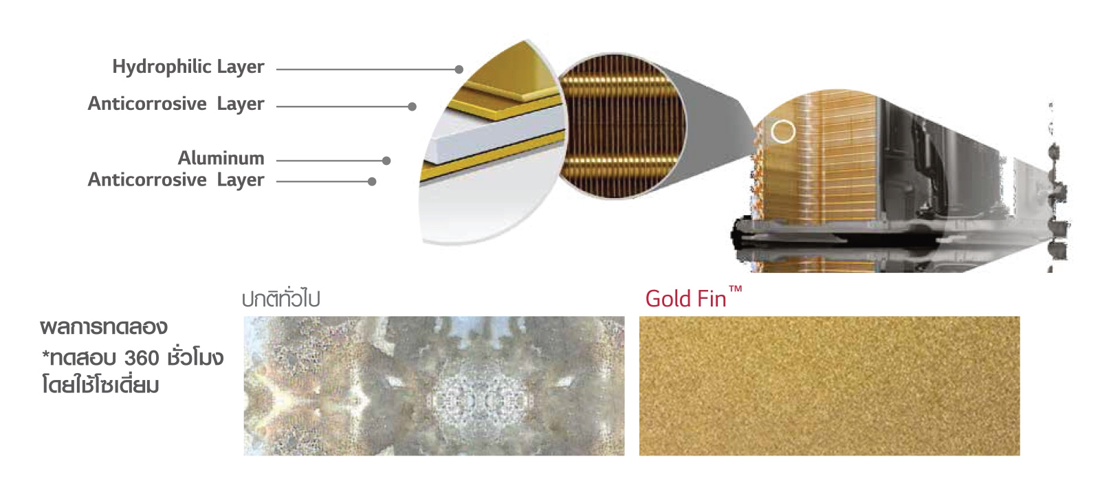 LG DUALCOOL with Air Purifying System Feature Gold Fin Technology