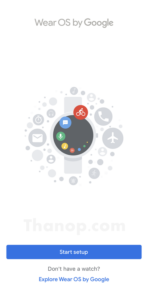 Wear OS by Google App Interface Start Setup