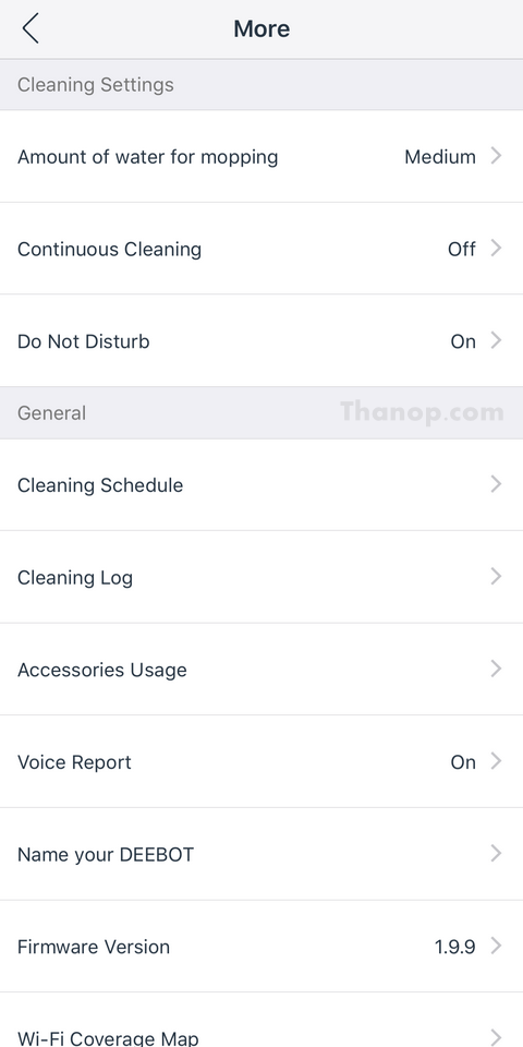 ECOVACS DEEBOT OZMO 930 App Interface Cleaning Settings and General