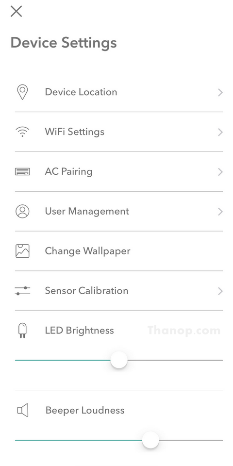 Ambi Climate 2 App Interface Device Settings