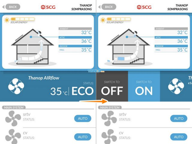 SCG SmartLiving App Interface for SCG Active AIRflow™ System