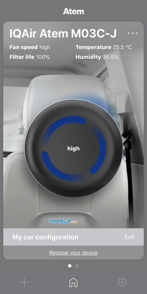 IQAir Atem Desk and Car App Interface Main