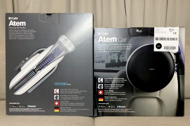 IQAir Atem Desk and Car Box Rear