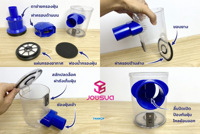 JOWSUA Cyclone Vacuum Cleaner Dust Canister Detail