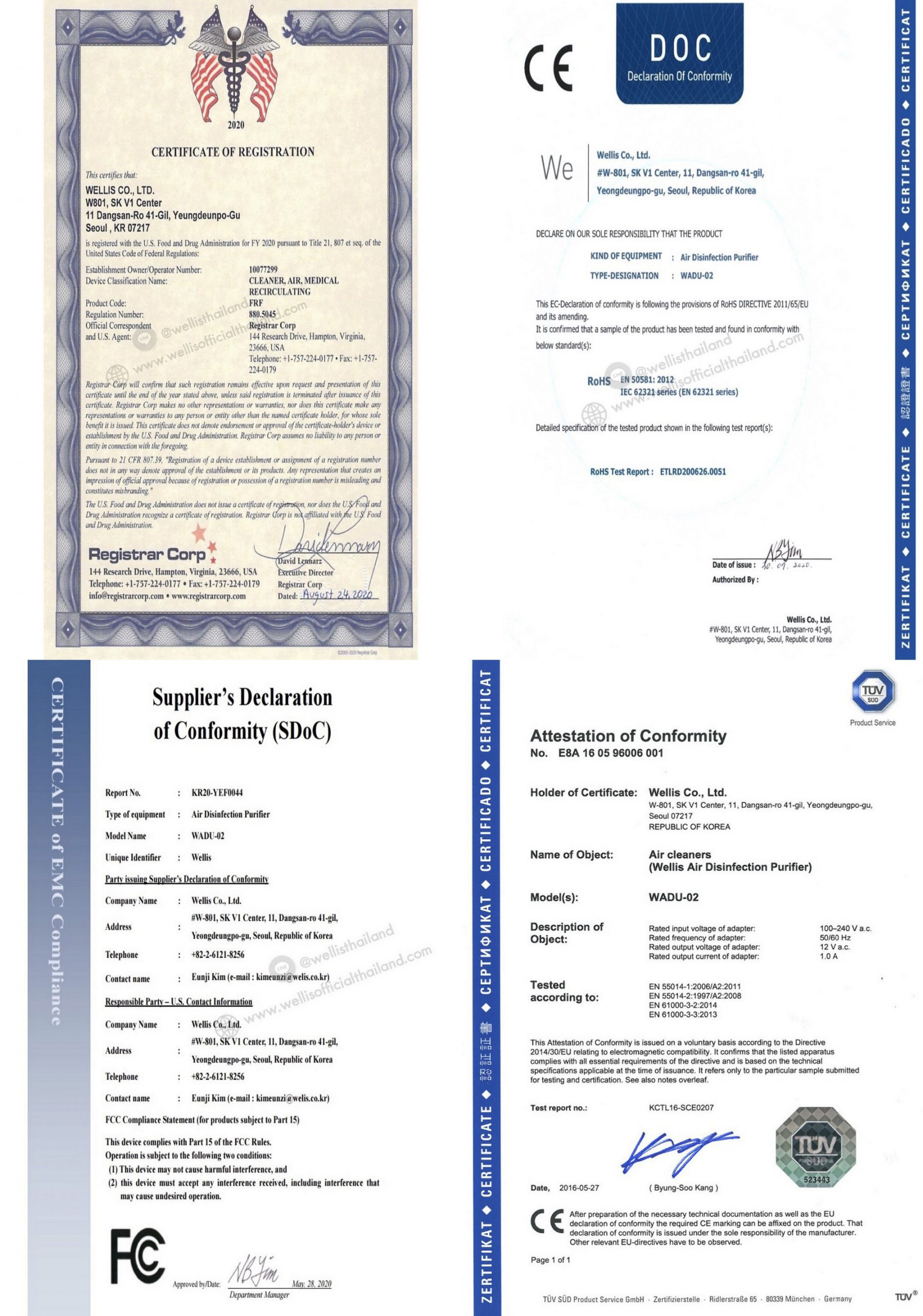 wellis-air-disinfection-purifier-certificate-example