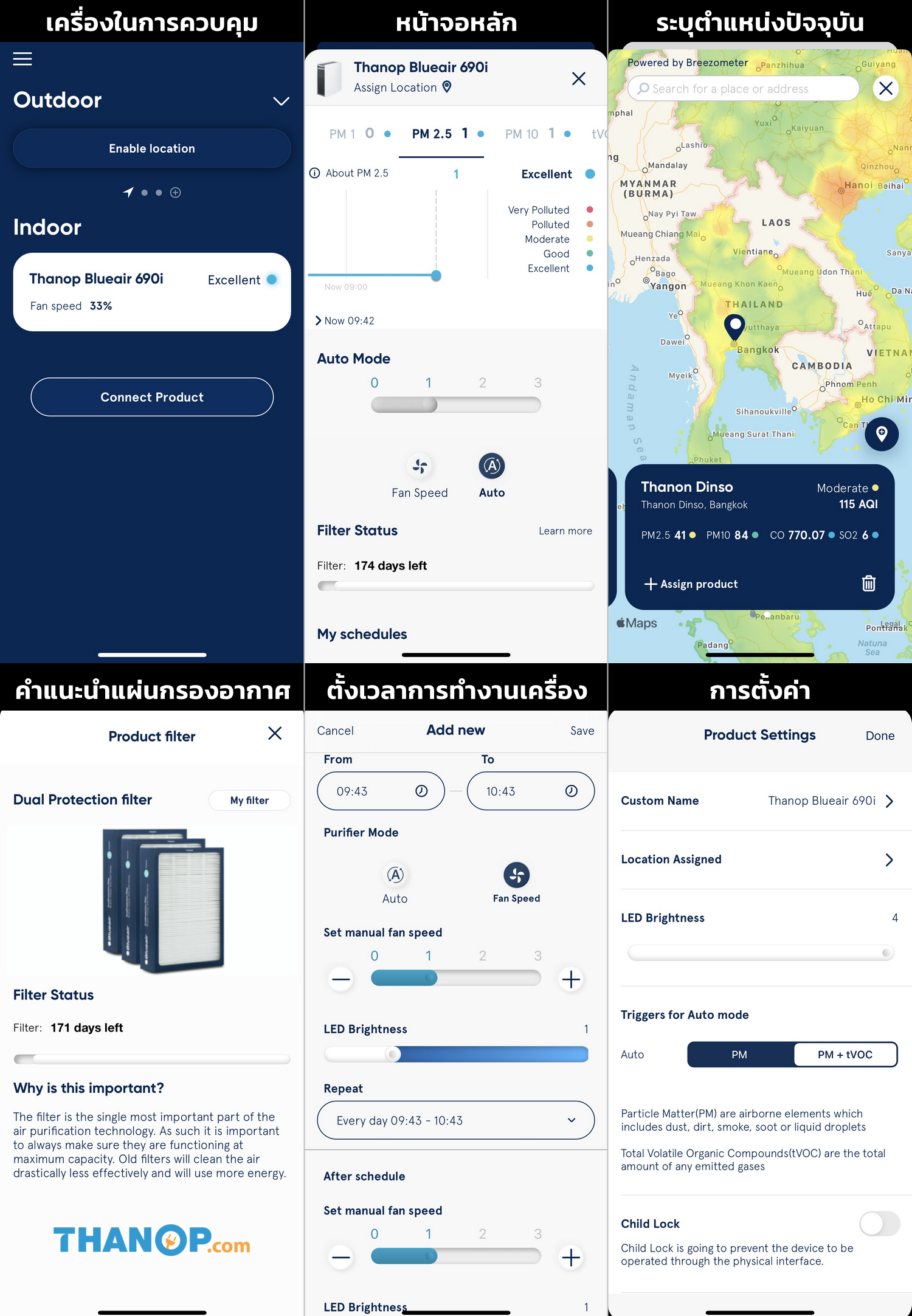 Blueair App Interface General Example
